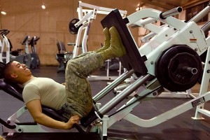 soldier working out