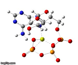 The yellow atom is the Mg. Without it ATP cannot function.