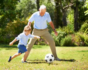 football with grandpa